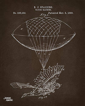 Icarus Airborn Patent Artwork Espresso by Nikki Marie Smith
