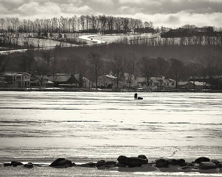 Ice Fisherman on Canandaigua Lake 2010 by Joseph Duba