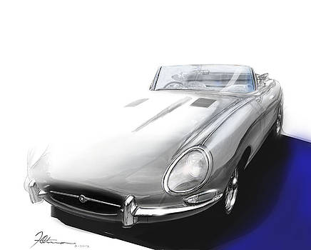 iconic E- type Jaguar by Fred Otene