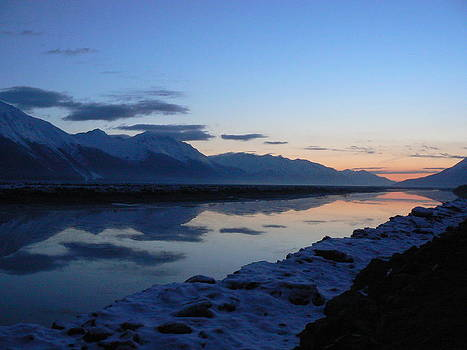 Icy Sunset Reflection by Shelly Rochon