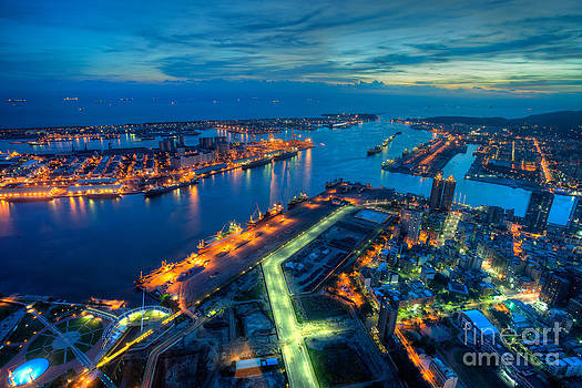 Fototrav Print - Illuminated Kaohsiung city harbor at night Taiwan cityscape