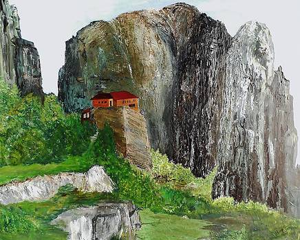 Impression of Monastery in Greece by Bruce Combs - REACH BEYOND