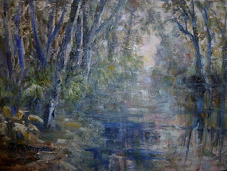 Impressionist Landscape River Painting by Amber Palomares