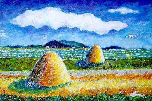 Ion vincent DAnu - Impressionist Landscape with UFO