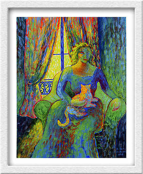 Impressionist Woman and Cat by Eve Riser Roberts