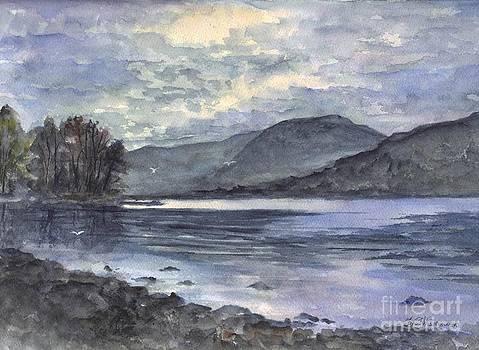 Derwent Water England In The Glowing Moonlight by Carol Wisniewski