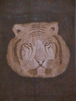 Indian pyrography tiger by Ashraf Mohammed Musaliyarkalathil