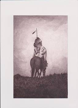 Indian Sunset of dying race by Billie Bowles