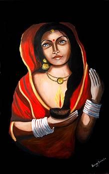 Indian woman with lamp by Saranya Haridasan