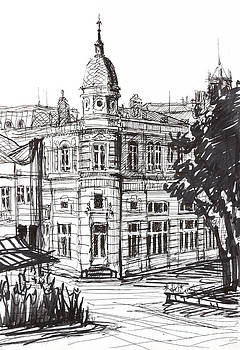 Ink Graphics of an Old Building in Bulgaria by Kiril Stanchev