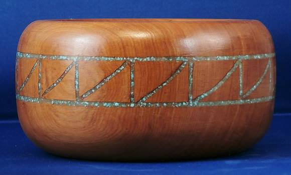 Inlayed Alligator Juniper Bowl by Russell Ellingsworth