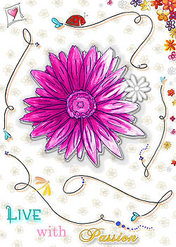 Inspirational Floral Art Quote Ladybug Dragonfly Painting Live with Passion by Megan Duncanson by Megan Duncanson