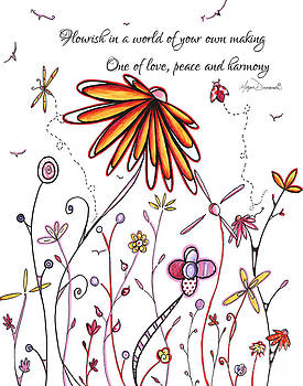 Inspirational Floral Ladybug Dragonfly Daisy Art with Uplifting Quote by Megan Duncanson by Megan Duncanson