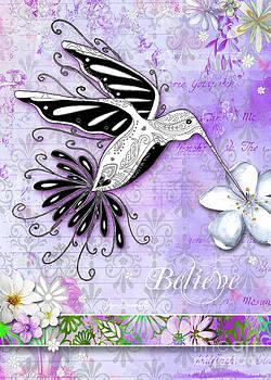 Inspirational Hummingbird Purple Flowers Paisley Pattern Believe by Megan Duncanson by Megan Duncanson