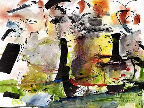 Ginette Callaway - Intuitive Abstract #3 Watercolor and Ink