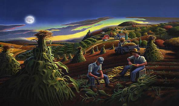 Iphone Case - Shucking Corn Til Sunset - Folk Art Farm Landscape - Americana by Walt Curlee