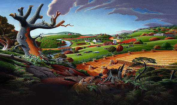 Iphone Case - Autmn Wheat Harvest Farm Folk Art Landscape by Walt Curlee