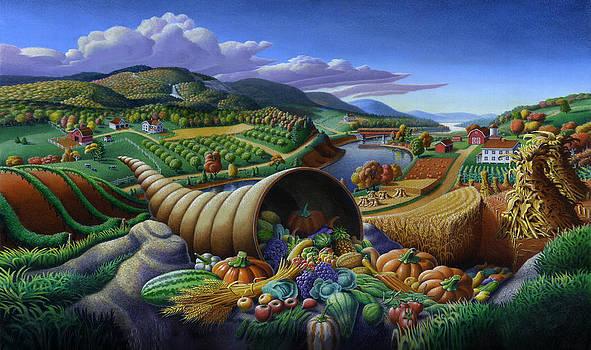 Iphone Case - Horn Of Plenty - Folk Art Farm Landscape - Americana  by Walt Curlee