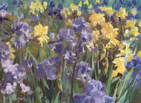 Irises Flowers Field Original Painting by K Joann Russell