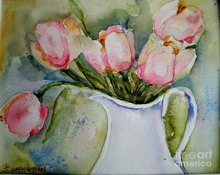 Ironstone and Tulips by Barbra Joan
