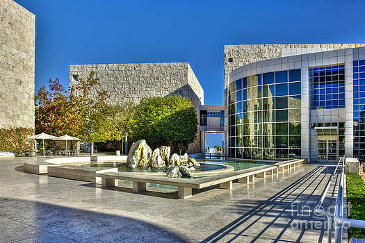 David Zanzinger - J. Paul Getty Museum Courtyard Fountains Blue Veined Marble Boulders Sculpture
