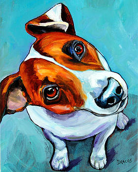 Jack Russell Looking Up by Dottie Dracos