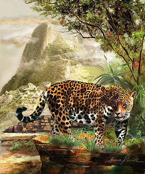 Jaguar in the shadow of  Machu Picchu Peru by Gina Femrite
