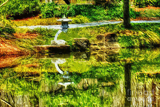 Japanese garden reflections by Ules Barnwell
