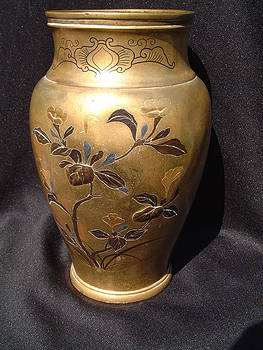 Japanese gilt-metal vase with relief decorations featuring a floral and bird design by Japanese goldsmith