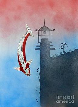 Japanese Koi Shusui Reflection by Gordon Lavender