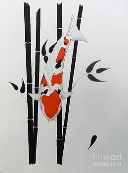Japanese Koi Taisho Sanke Curves and Straights Bamboo by Gordon Lavender