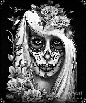 Sugar Skull Jess B and W by Debbie Engel