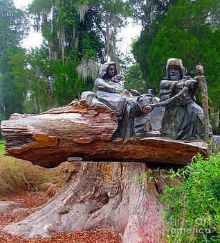 Jesus Mary Joseph Carved In A Fallen Tree by Lisa Jones