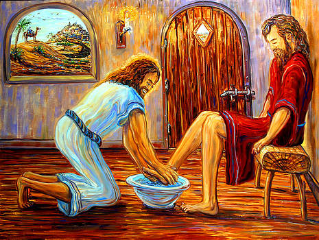 Jesus Washing Disciple's Feet by Arthur Robins