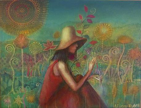 Jill in the Dandelion Field by Alice Mason
