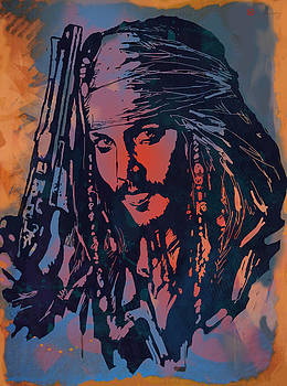 Johnny Depp - Stylised Etching Pop Art Poster by Kim Wang