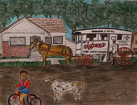 Johnsons Milk Wagon Pulled by a Horse  by Kathy Marrs Chandler