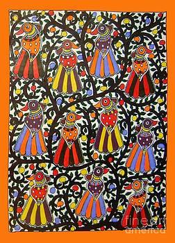 Joint family of birds-Madhubani Painting by Neeraj kumar Jha
