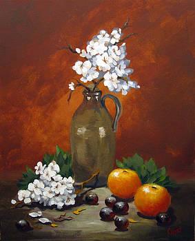 Jug and Blossoms by Carol Hart