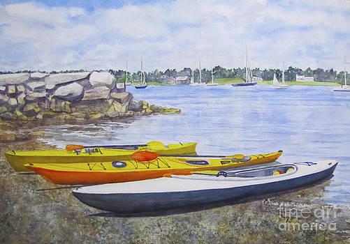 Kayaks Waiting Bristol RI by Carol Flagg