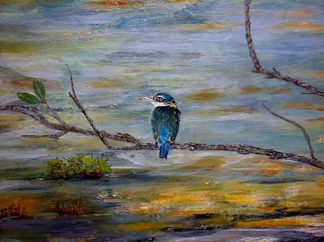Kingfisher over Estuary by Chris Keenan