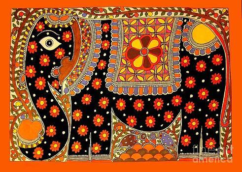 King's Elephant-Madhubani Paintings by Neeraj kumar Jha