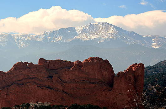 Kissing Camels Against Pikes Peak by Clarice  Lakota
