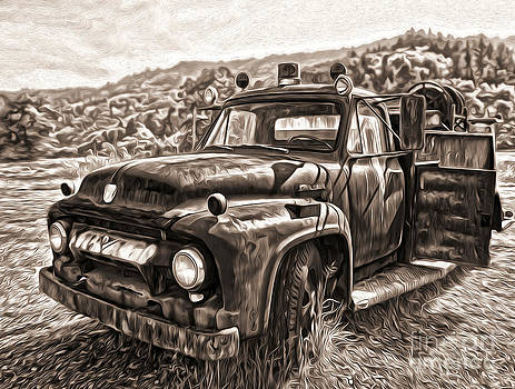 Gregory Dyer - Klamath Old Fire Truck in Sepia