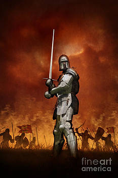 Knight In Shining Armour On A Medieval Battlefield by Lee Avison