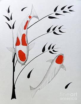 Koi Kohaku and Tancho with Bamboo by Gordon Lavender