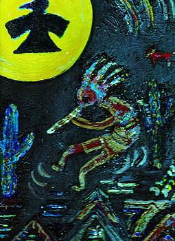 Anne-Elizabeth Whiteway - Kokopelli with Thunderbird in Moon  at Night