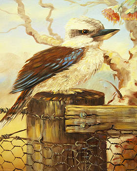 Kookaburra On Fence by Joy Cresp