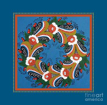 Kurbits Wreath Blue by Leif Sodergren