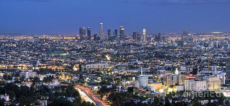 David Zanzinger - L.A. Skyline at Dusk lit beautiful los Angeles CA